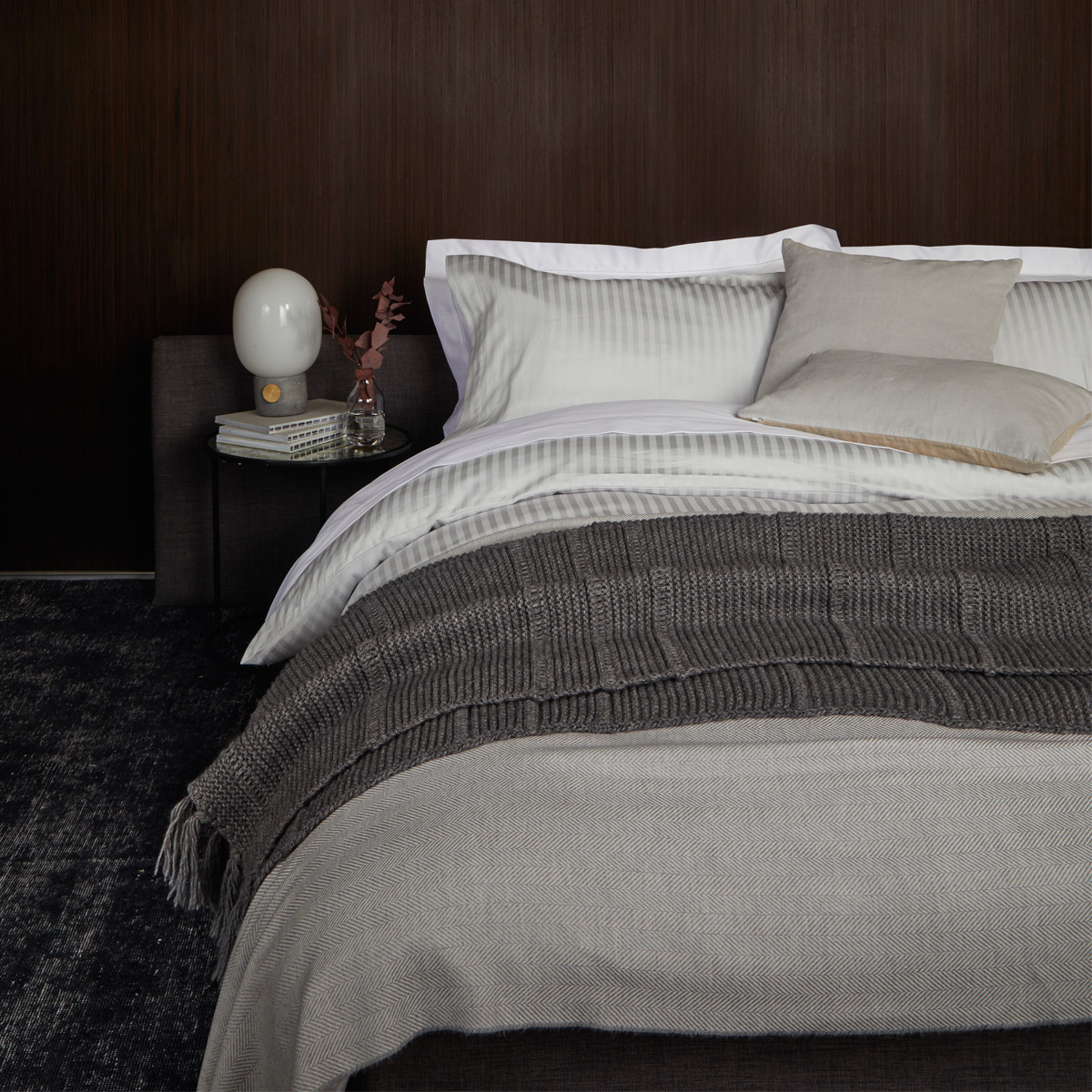 An image of Luxury Cotton 300TC Sateen Standard pillowcase pair in Platinum (Silver/Grey) by...