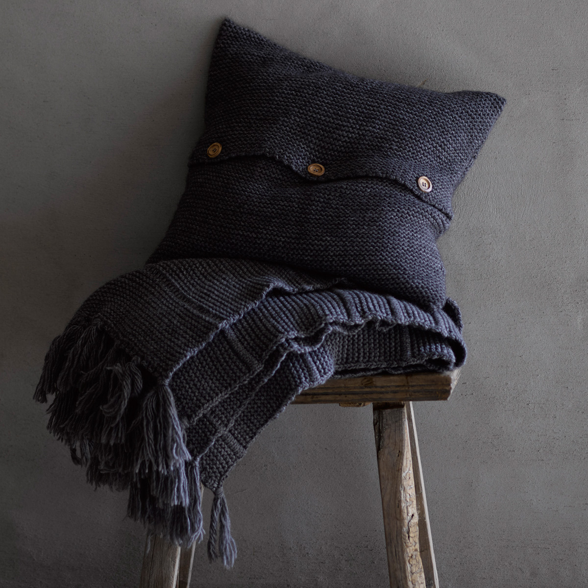 An image of Luxury Agnes Throw in Charcoal (Black/Grey) by Christy