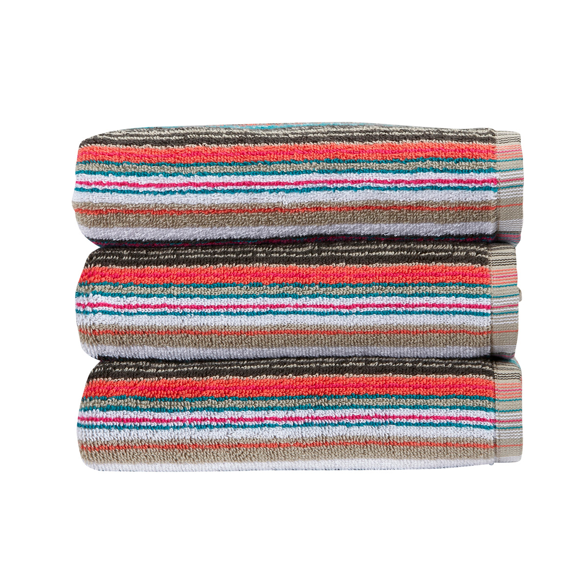 An image of Luxury Cotton Barcode Stripe Hand Towel in Multicoloured by Christy
