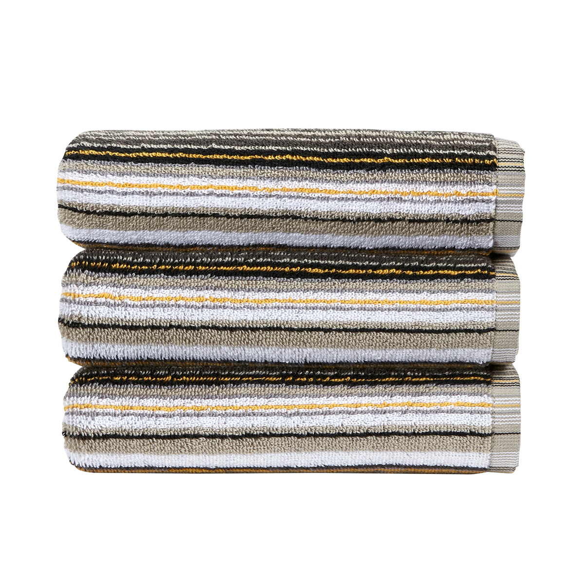 An image of Luxury Cotton Barcode Stripe Hand Towel in Ochre (Yellow) by Christy