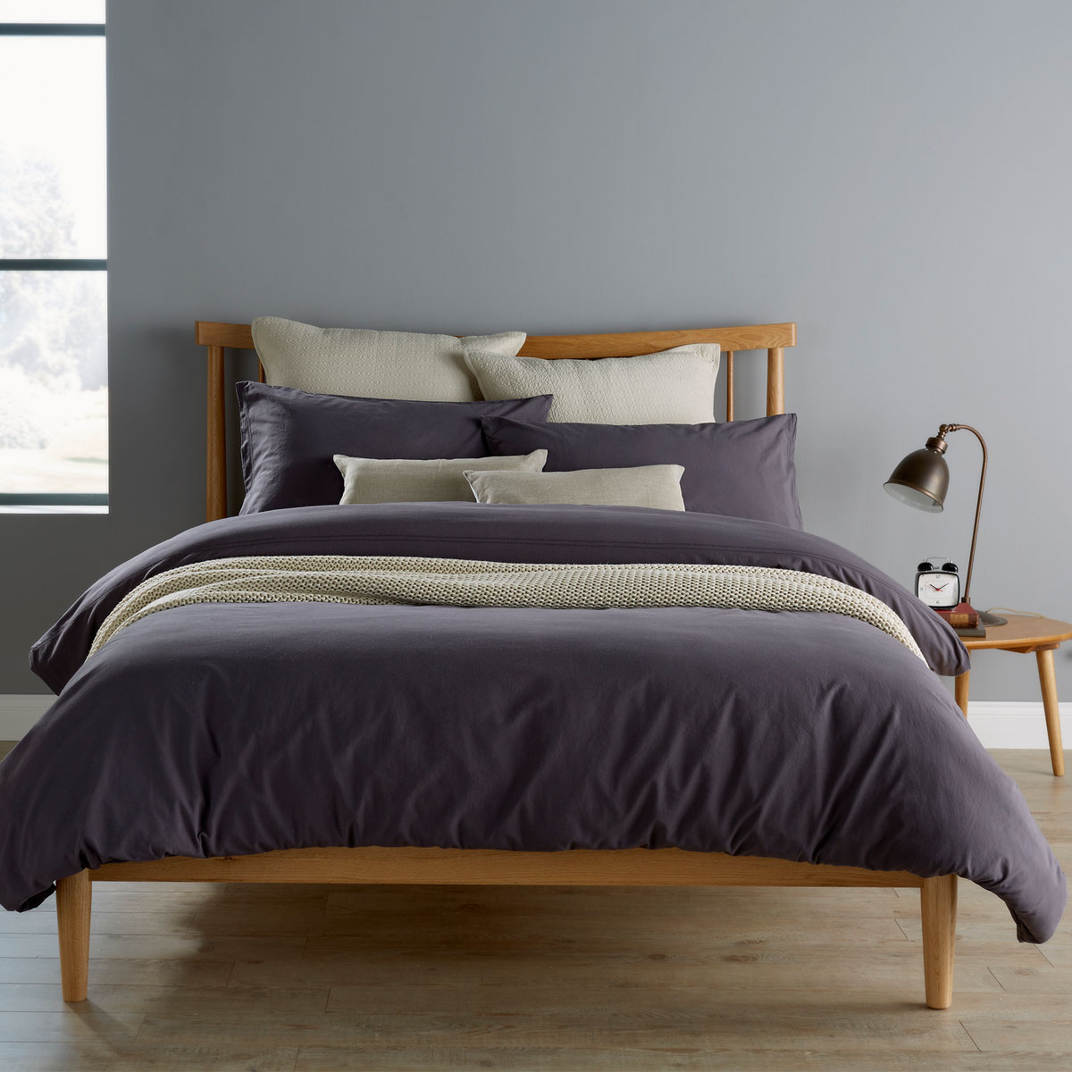An image of Luxury Bude Single Duvet Set in Charcoal (Black/Grey) by Christy