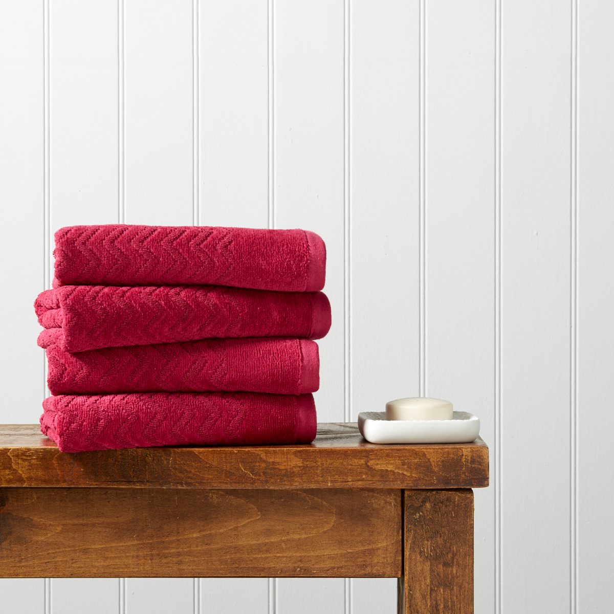 Christy Chevron Towels Raspberry Christy