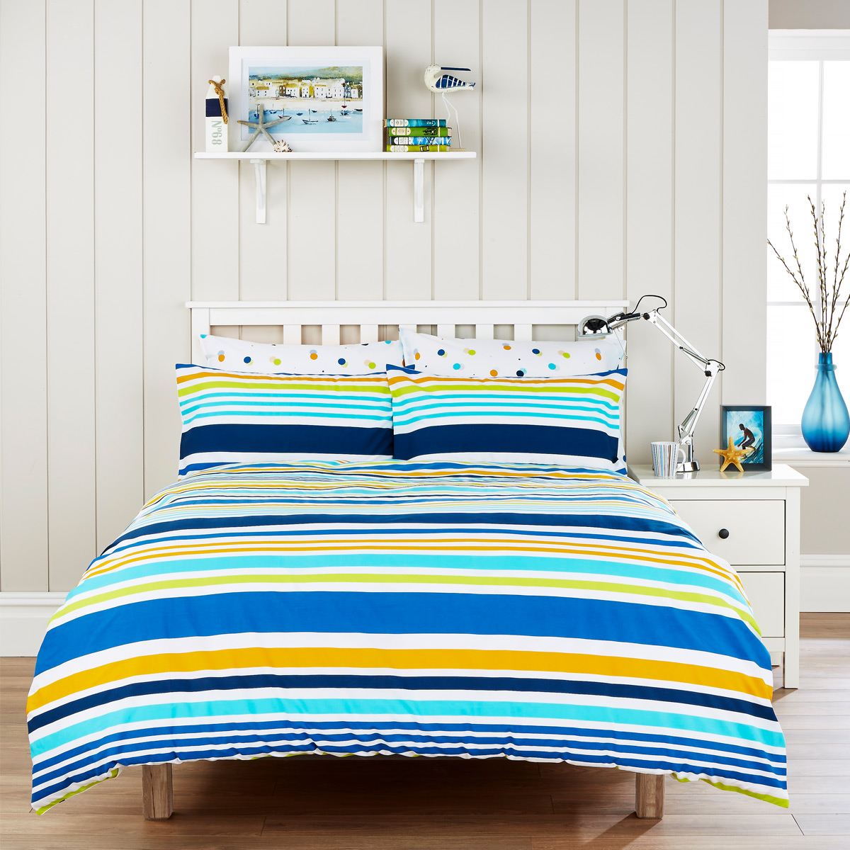 An image of Luxury Circus Stripe Double Duvet Set in Denim (Blue) by Christy