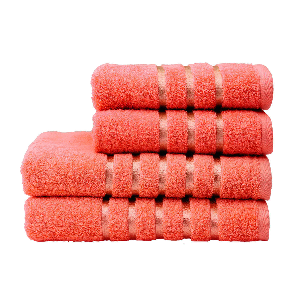 An image of Luxury Lifestyle Kingsley Face Cloth in Coral (Pink) by Christy