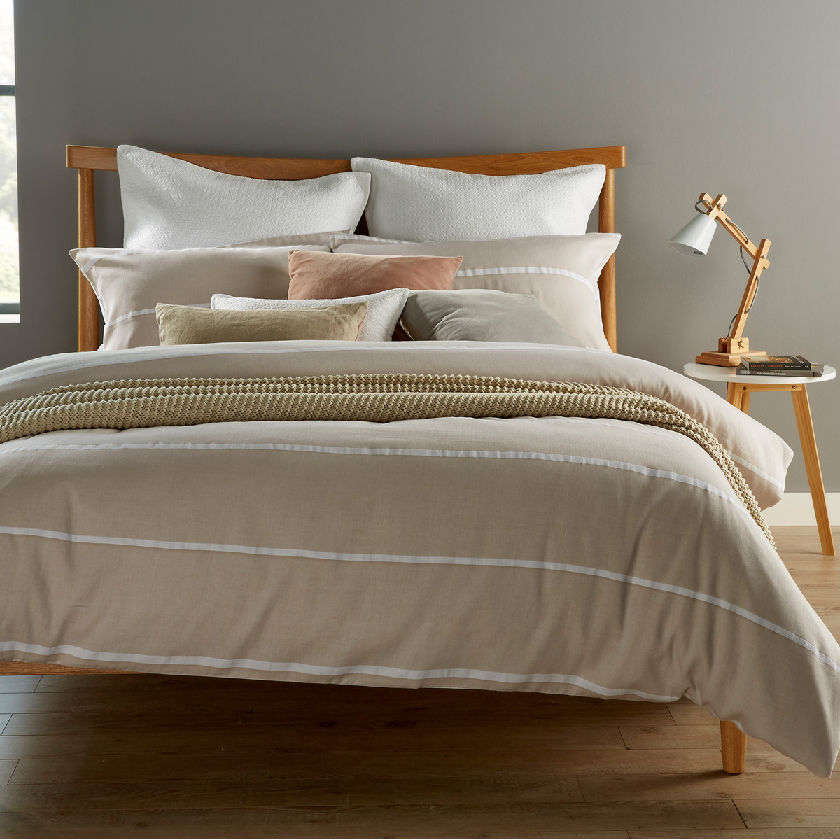 An image of Luxury Hepworth Single Duvet Set in Linen (White/Cream) by Christy