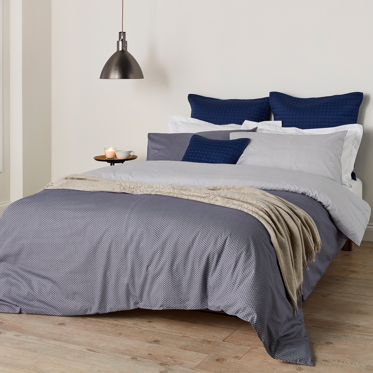 An image of Luxury Cotton Kimono Bed Linen Single Duvet Set in Blue by Christy