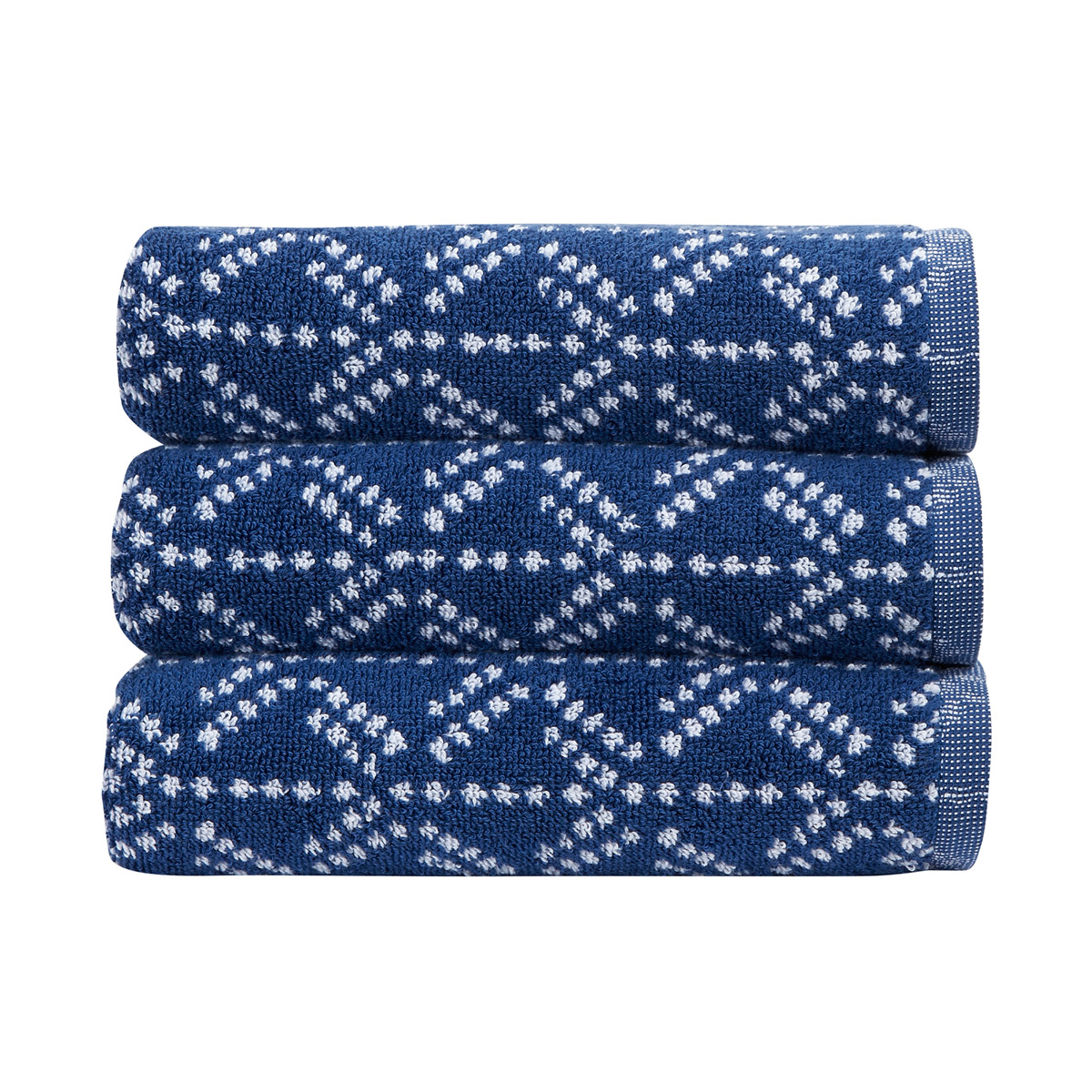 An image of Luxury Cotton Kimono Hand Towel in Navy (Blue) by Christy