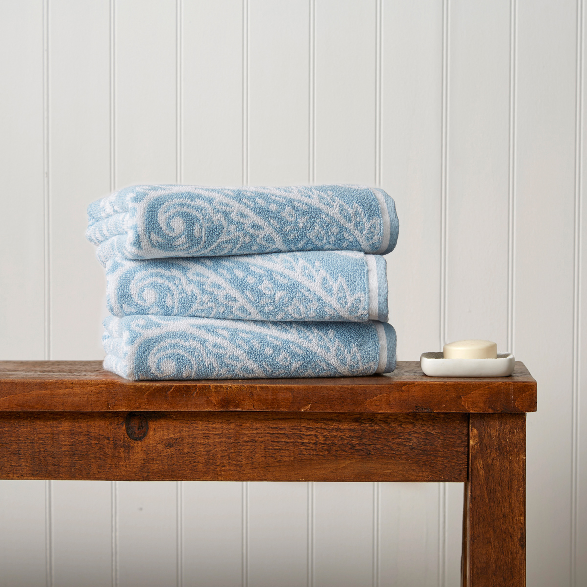 An image of Luxury Egyptian Cotton Mandalay Hand Towel in Soft Chambray (Blue) by Christy