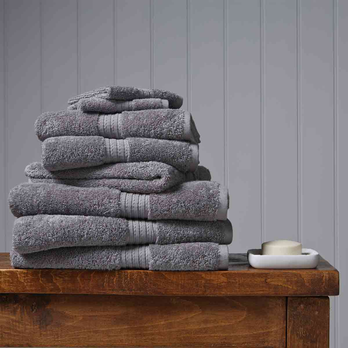 An image of Luxury Egyptian Cotton Plush Face Cloth in Shale (Black/Grey) by Christy