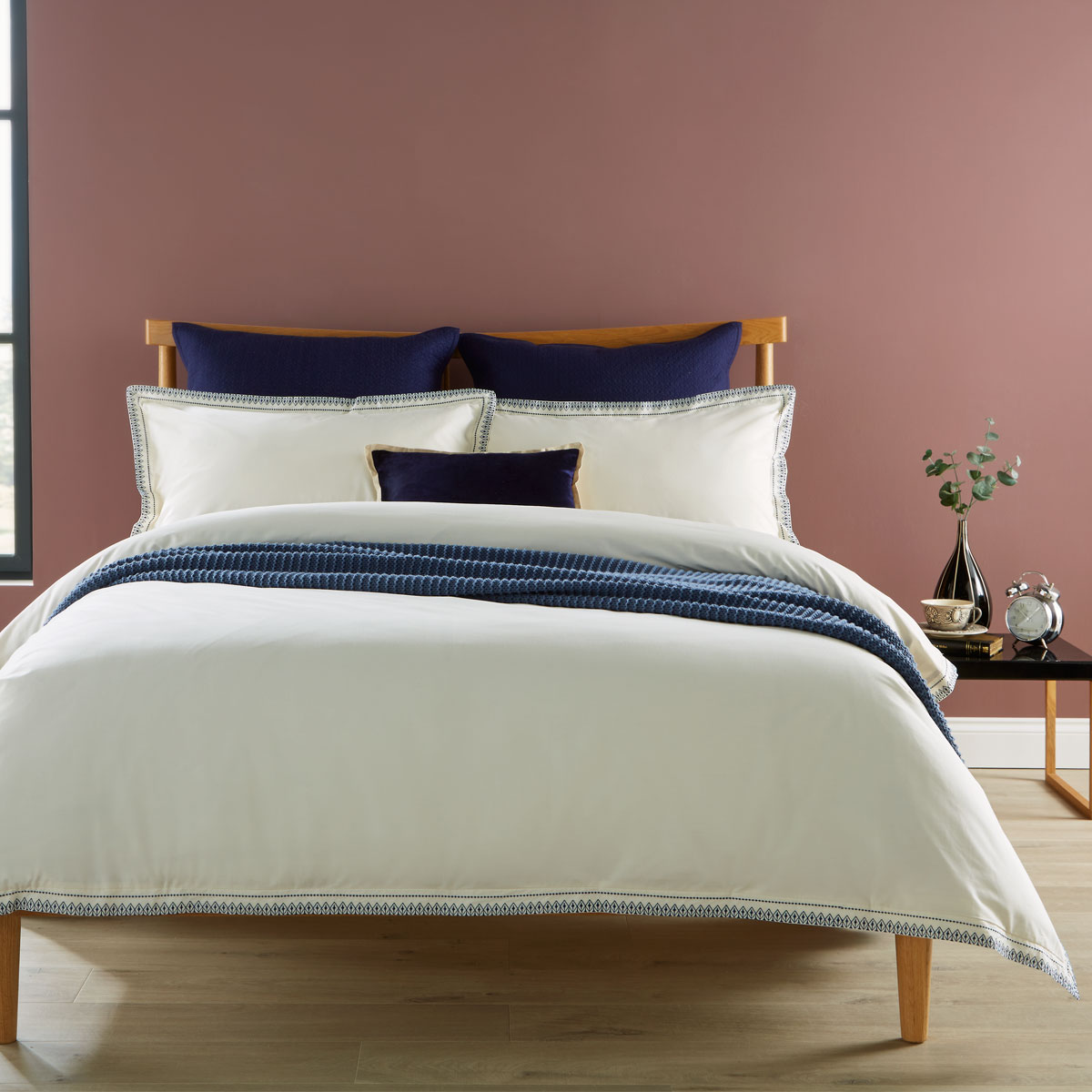 An image of Luxury Cotton Santa Fe Bed Linen Single Duvet Set in Ink (Blue) by Christy